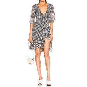 GANNI Checkered Print Mesh Wrap Dress